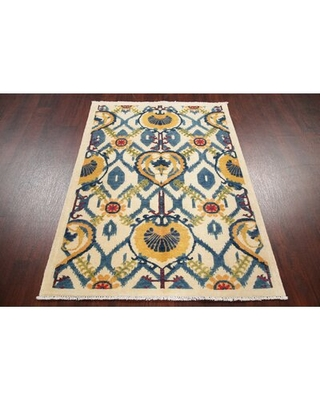 """One-of-a-Kind Hand-Knotted 2010s Kazak Ivory/Blue/Yellow 3'7"""" x 4'10"""" Wool Area Rug Rugsource"""