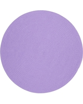 Joy Braids Solid Violet 4 ft. x 4 ft. Round Indoor/Outdoor Braided Area Rug
