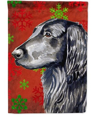 Flat Coated Retriever Red Snowflakes Holiday Christmas Flag Canvas House Size