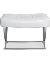 James Nickel and Leather Ottoman, Pebbled Leather, Solid, White