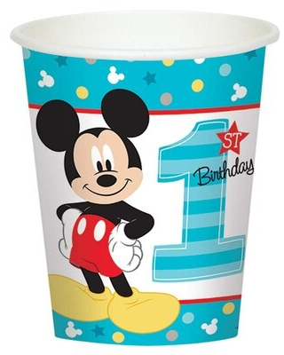 Disney Mickey Mouse 1st Birthday Paper Disposable Cup NA