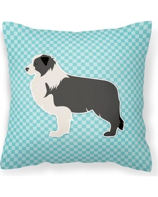 """East Urban Home Border Collie Indoor/Outdoor Throw Pillow EAAS4768 Size: 14"""" H x 14"""" W x 3"""" D Color: Blue"""