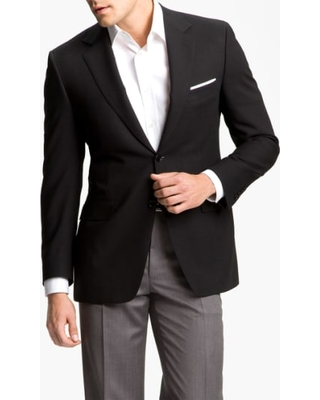 Men's Canali Classic Fit Solid Wool Blazer, Size 42 US / 52 EUL - Black