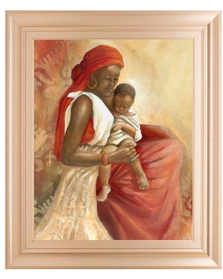"""World Menagerie 'Beauty of Love I' Framed Acrylic Painting Print, Paper in Red/Brown, Size Medium 25""""-32"""" 