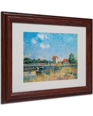 """Trademark Art 'The Loing Canal' Framed Print on Canvas BL01440 Size: 11"""" H x 14"""" W x 0.5"""" D Frame Color: Brown"""