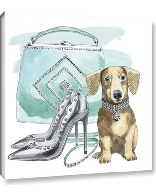 """Mercer41 'Glamour Pups III' by Beth Grove Painting Print on Wrapped Canvas MRCR9225 Size: 14"""" H x 14"""" W x 2"""" D"""