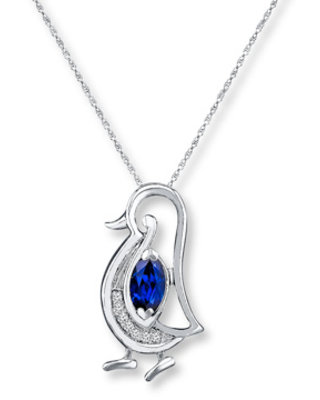 Penguin Necklace Lab-Created Sapphires Sterling Silver