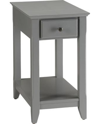 """Bertie Collection 82838 13"""" Side Table with 1 Drawer Bottom Shelf Metal Hardware Solid Wood and Wood Veneer Materials in Grey"""