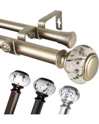 InStyleDesign Brooklyn 1 inch Diameter Adjustable Double Curtain Rod
