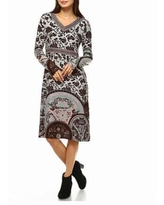 White Mark Naarah Embroidered Long Sleeve Sweater Dress, Medium , Brown