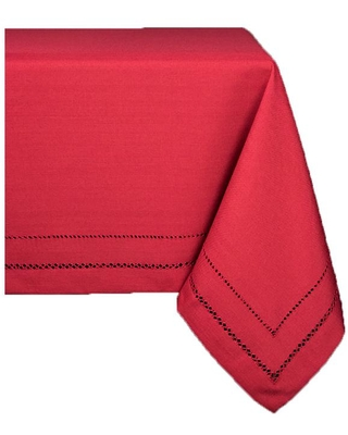 Xia Home Fashions 140 in. x 65 in. Handmade Double Hemstitch Easy Care Round Tablecloth in Red