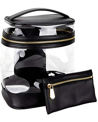 Ver Beauty Vintage Clear Makeup Travel Bag with Inner Pocket, Removable Pouch & Gold Zipper Closure, Black Clear