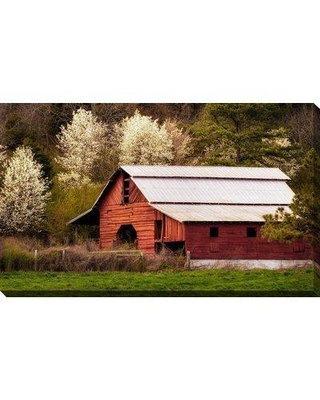 """August Grove 'Skylight Red Barn' Photographic Print BF163805 Size: 18"""" H x 30"""" W x 1"""" D Format: Wrapped Canvas"""