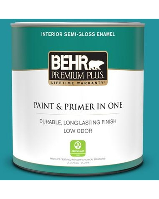 BEHR PREMIUM PLUS 1 qt. #500B-6 Peacock Feather Semi-Gloss Enamel Low Odor Interior Paint and Primer in One