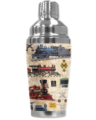 """Mugzie """"Steam Locomotives (tan)"""" Cocktail Shaker with Insulated Wetsuit Cover, 16 oz, Black"""