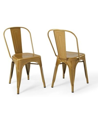 Promenade Collection EEI-3859-GLD Bistro Dining Side Chair Set of 2 in Gold