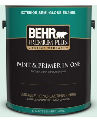 New Savings On Behr Premium Plus 1 Gal M420 1 Sparkling Brook Semi Gloss Enamel Exterior Paint And Primer In One