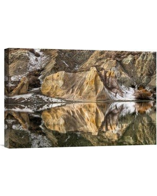 """East Urban Home 'Reflections of Clay Cliffs in Blue Lake St. Bathans Central Otago New Zealand' Photographic Print EAAC8387 Size: 12"""" H x 18"""" W Format: Wrapped Canvas"""