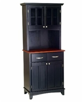Home Styles Buffet of Buffet with Wood Top and Hutch - Black