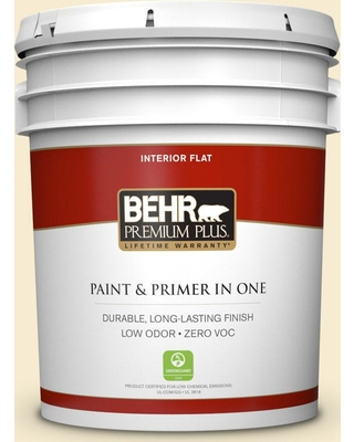 BEHR Premium Plus 5 gal. #380E-2 Lightning White Flat Low Odor Interior Paint and Primer in One