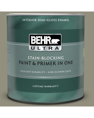 BEHR ULTRA 1 qt. #N350-5 Muted Sage Semi-Gloss Enamel Interior Paint and Primer in One