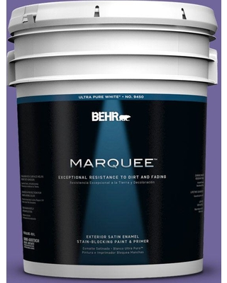 BEHR MARQUEE 5 gal. #630B-7 Pandora Satin Enamel Exterior Paint and Primer in One