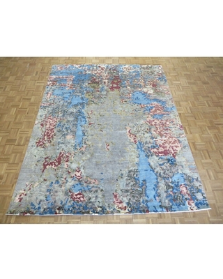 """Hand Knotted Multi Colored Modern with Wool & Silk Oriental Rug (7'11"""" x 10'1"""") - 7'11"""" x 10'1"""""""