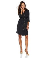 Motherhood Maternity Women's Maternity Collared Shirt Dress with Tie Detail, Black, Large