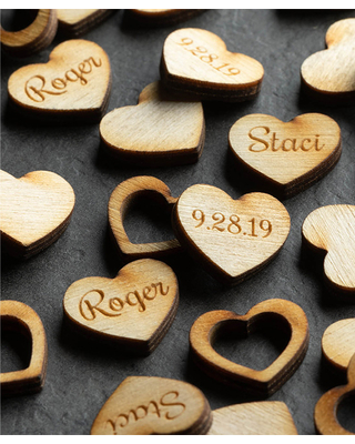 Personalized Planet brown - Happy Couple Personalized Wood Confetti