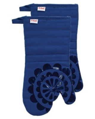 T-fal Textiles 2 Pack Print Silicone Medallion Cotton Twill Oven Mitt Set (Blue)
