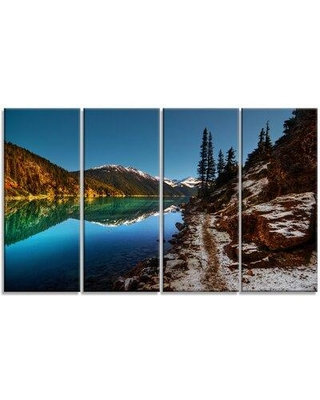 Design Art 'Blue Clear Lake with Mountains' 4 Piece Photographic Print on Wrapped Canvas Set PT14410-271