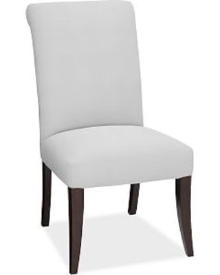 PB Comfort Roll Upholstered Dining Side Chair, Performance Twill Warm White