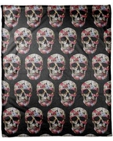 "The Holiday Aisle Floral Skull Fleece Throw THDA6559 Size: 60"" W x 80"" L"