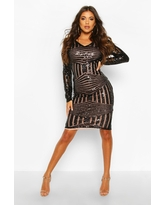 Womens Sequin & Mesh Plunge Neck Midi Dress - Black - 2