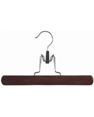 Only Hangers Inc. Wooden Clamp Style Pant/Skirt Hanger NH303-25 / WH504-25 Finish: Walnut/ Chrome