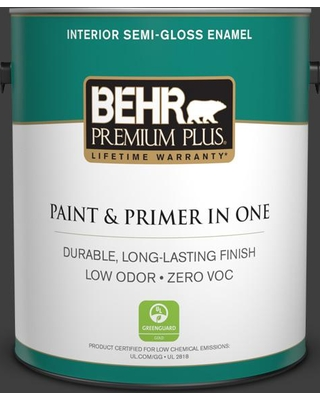 BEHR Premium Plus 1 gal. #T13-3 Black Lacquer Semi-Gloss Enamel Low Odor Interior Paint and Primer in One