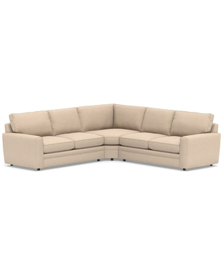 Pearce Square Arm Upholstered Left Arm 3-Piece L-Shaped Wedge Sleeper Sectional, Down Blend Wrapped Cushions, Performance Everydayvelvet(TM) Buckwheat