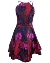 X By Xscape Women's Floral Brocade Fit & Flare Dress - Black/Pink