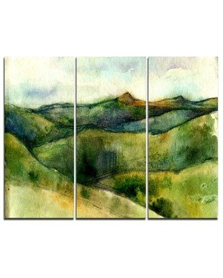 Design Art Green Mountains Watercolor - 3 Piece Painting Print on Wrapped Canvas Set PT7788-3P
