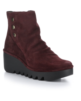 Fly London Brom Wedge Bootie, Size 5.5Us in 004 Wine Oil Suede at Nordstrom