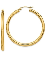 14K Yellow Gold 3MM Polished Round Tube Hoops Earrings, All Sizes, Classic Gold Hoop Earrings for Women, 100% Real 14K Gold (40mm)