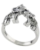 Sterling Silver and Faceted Marcasite Elephant Cocktail Ring