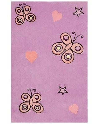 St. Croix Playful Butterfly Kisses Handmade Tufted Cotton Purple Rug QSC1749 Rug Size: Rectangle 4' x 6'