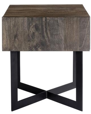Tiburon Collection SR-1020-24 Side Table with Iron Base in Natural