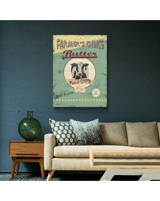 """August Grove 'Farmer's Choice Butter' Graphic Art Print on Canvas BF078374 Size: 24"""" H x 32"""" W x 2"""" D Format: Wrapped Canvas"""
