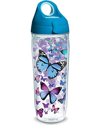 Shop For Tervis 1231948 Blue Endless Butterfly Tumbler With Wrap And Turquoise Lid 24oz Water Bottle Clear
