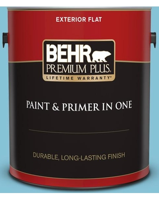BEHR Premium Plus 1 gal. #540D-4 Dreaming Blue Flat Exterior Paint and Primer in One