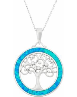 """""""Lab-Created Blue Opal Sterling Silver Tree of Life Circle Pendant Necklace, Women's, Size: 18"""""""""""