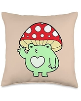 Cottagecore Aesthetic Lover Gift Store Frog with Mushroom Hat Cute Cottagecore Aesthetic Kawaii Throw Pillow, 16x16, Multicolor