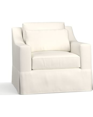 York Slope Arm Slipcovered Deep Seat Armchair, Down Blend Wrapped Cushions, Performance Twill Warm White